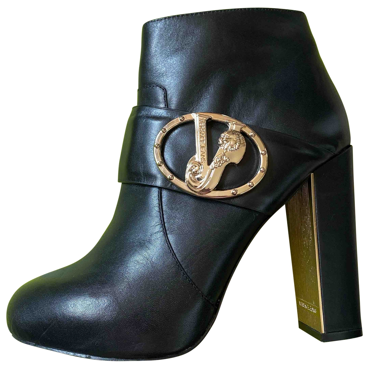 Versace Jeans \N Black Leather Boots for Women 37 EU