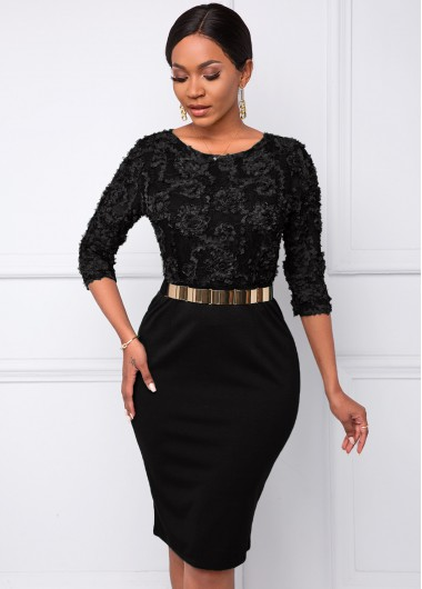 Black Dresses Round Neck Belted Stereo Flower Dress - XL