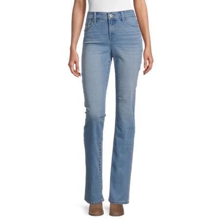 St. John's Bay Womens Mid Rise Straight Leg Jean, 6 , Blue