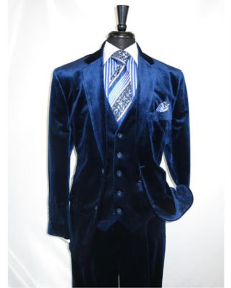 Men's Navy Velour 2 Button Velvet Fabric 3 Piece Vested Side Vent Suit