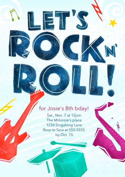 Kids Birthday Party Invites 5x7 Cards, Premium Cardstock 120lb with Scalloped Corners, Card & Stationery -Rock and Roll