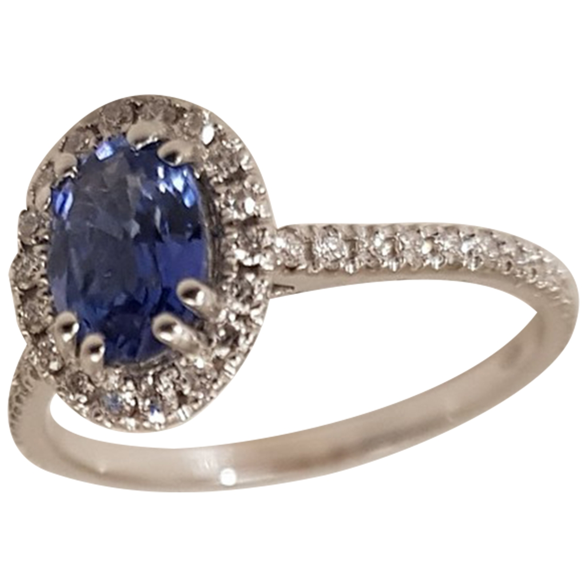 Non Signe / Unsigned Saphir Ring in  Blau Weissgold