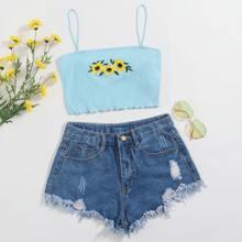 Sunflower Embroidery Lettuce Trim Crop Cami Top