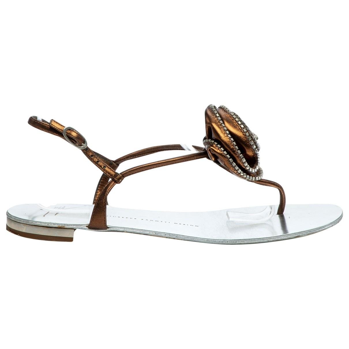 Giuseppe Zanotti \N Gold Leather Sandals for Women 39 EU