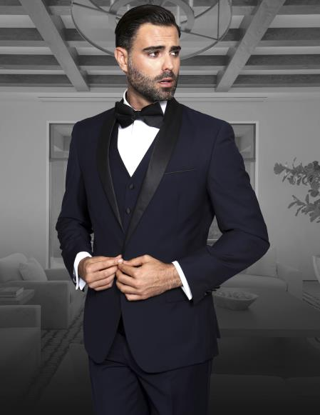 Shawl Collar Single Button Vested Black Lapel Two toned blue Tuxedo