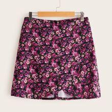 Ditsy Floral Wrap Mini Skirt