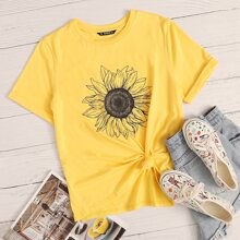 Rolled Sleeve Sunflower Print Tee