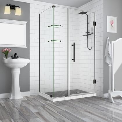 SEN962EZ-ORB-432938-10 Bromleygs 42.25 To 43.25 X 38.375 X 72 Frameless Corner Hinged Shower Enclosure With Glass Shelves In Oil Rubbed