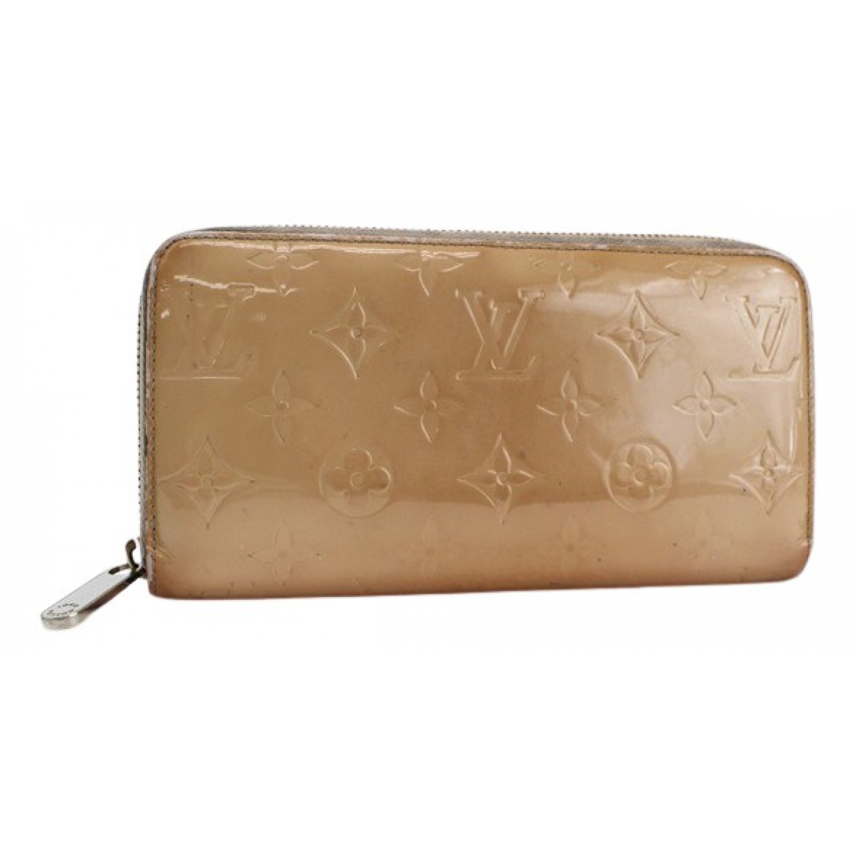 Louis Vuitton - Portefeuille Zippy pour femme en cuir verni - beige