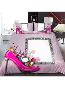 Pink Heels And Makeup Mirrors Female 3D Printed Polyester 1-Piece Warm Quilt