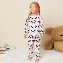 Toddler Girls Allover Cartoon Graphic Flannel PJ Set