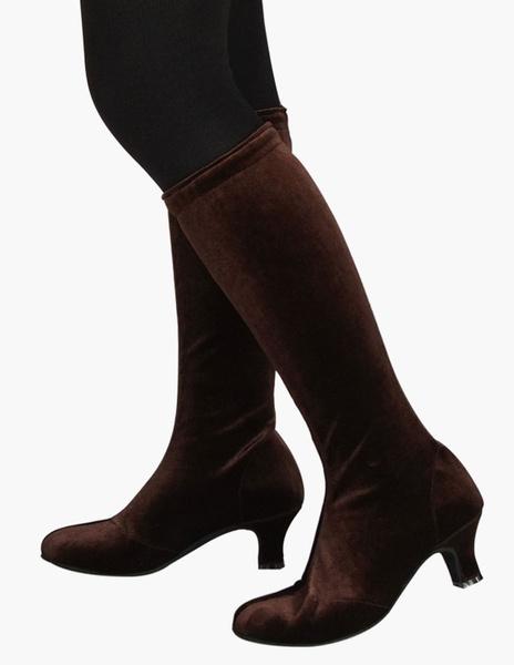 Milanoo Botas de mitad de la pantorrilla de terciopelo de puntera puntiaguada botas altas mujer 6.5cm botas altas negras Tacon bobina negro