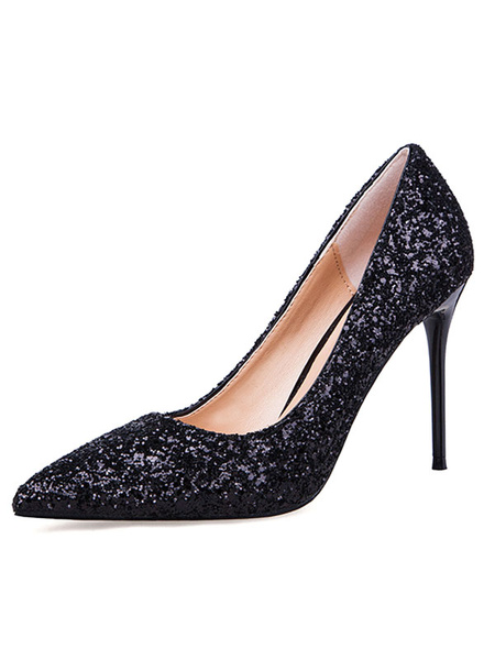 Milanoo Women's Prom Shoes Pointed Toe Heels Glitter Slip On Plating High Heel Pump Shoes
