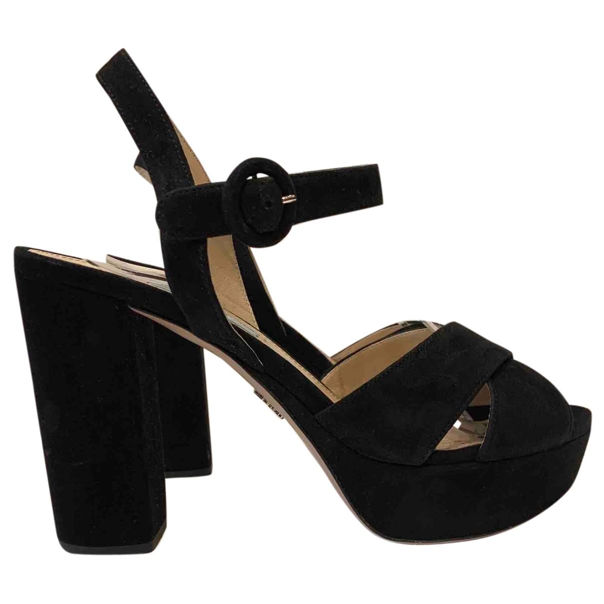 Prada - Sandales   pour femme en suede - noir