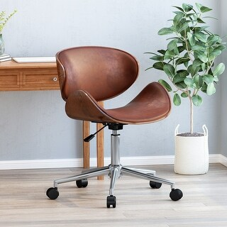 Dawson Indoor  Upholstered Swivel Office Chair by Christopher Knight Home (Walnut + Cognac + Chrome)