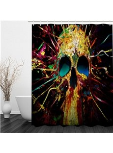 Colorful Skull Head Creative Style Polyester Waterproof and Eco-friendly 3D Shower Curtain