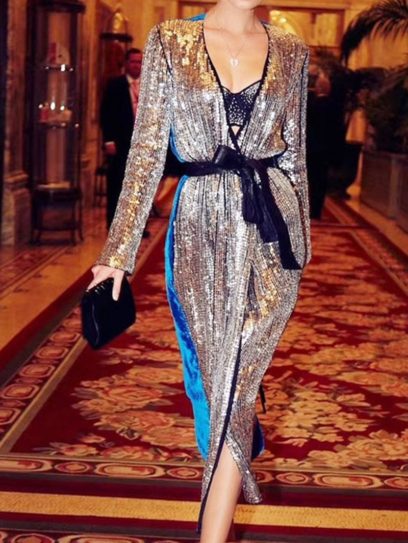 Ericdress Long Sleeve Mid-Calf V-Neck Mid Waist Women's Bodycon Dress