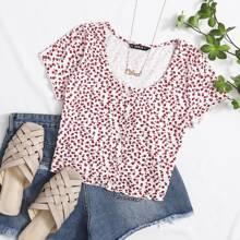 Camiseta corta floral de margarita ribete en forma de lechuga con boton delantero
