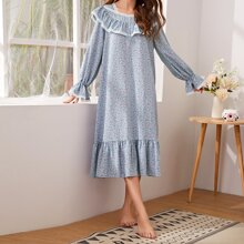 Buttoned Front Lace Trim Ditsy Floral Nightdress