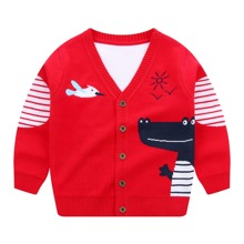 Toddler Boys Cartoon And Striped Pattern Button Front Cardigan