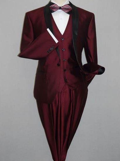 Tuxedo Burgundy Slim Fitted 3 Piece Two Toned Shiny Suit Sharkskin