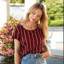 Cut Out Back Stripe Tee
