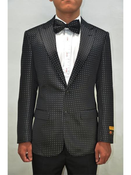 Alberto Nardoni Men Floral Fancy Sport Coat Matching Bow Black-White