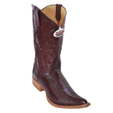 Burgundy 3X Toe Genuine Ostrich Leg