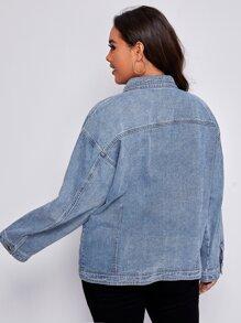 Plus Flap Pocket Drop Shoulder Denim Jacket