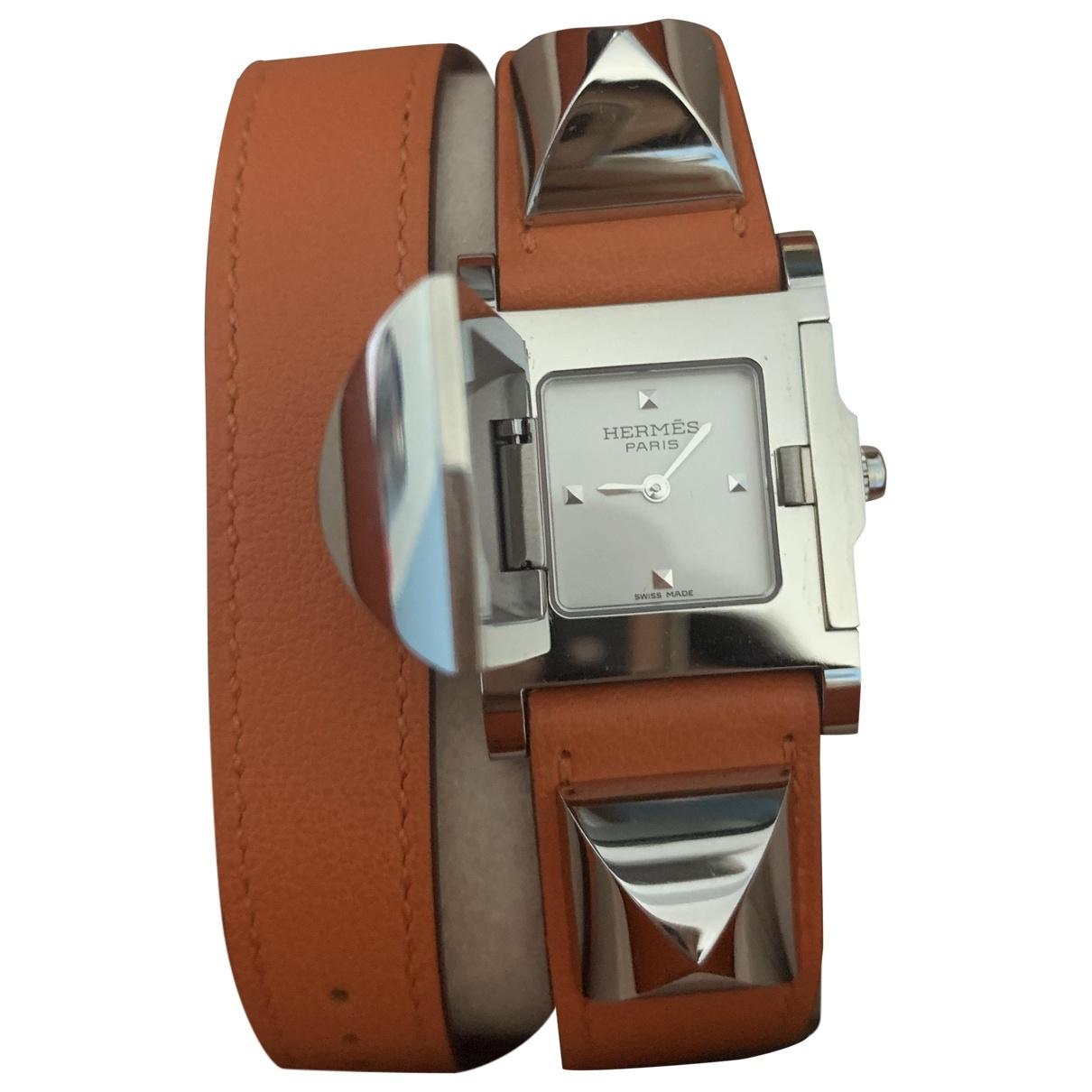 Hermès Médor Orange Steel watch for Women \N