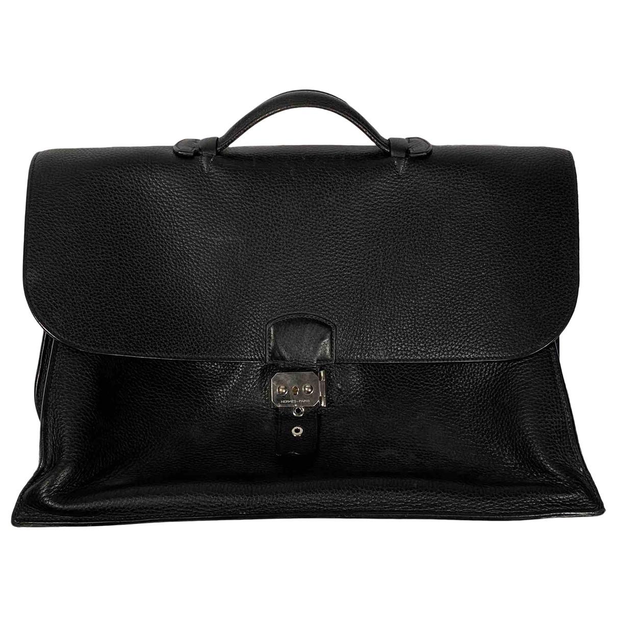 Hermès Sac à dépèches Black Leather bag for Men \N