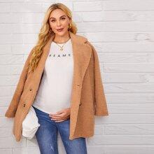 Maternidad abrigo teddy con boton