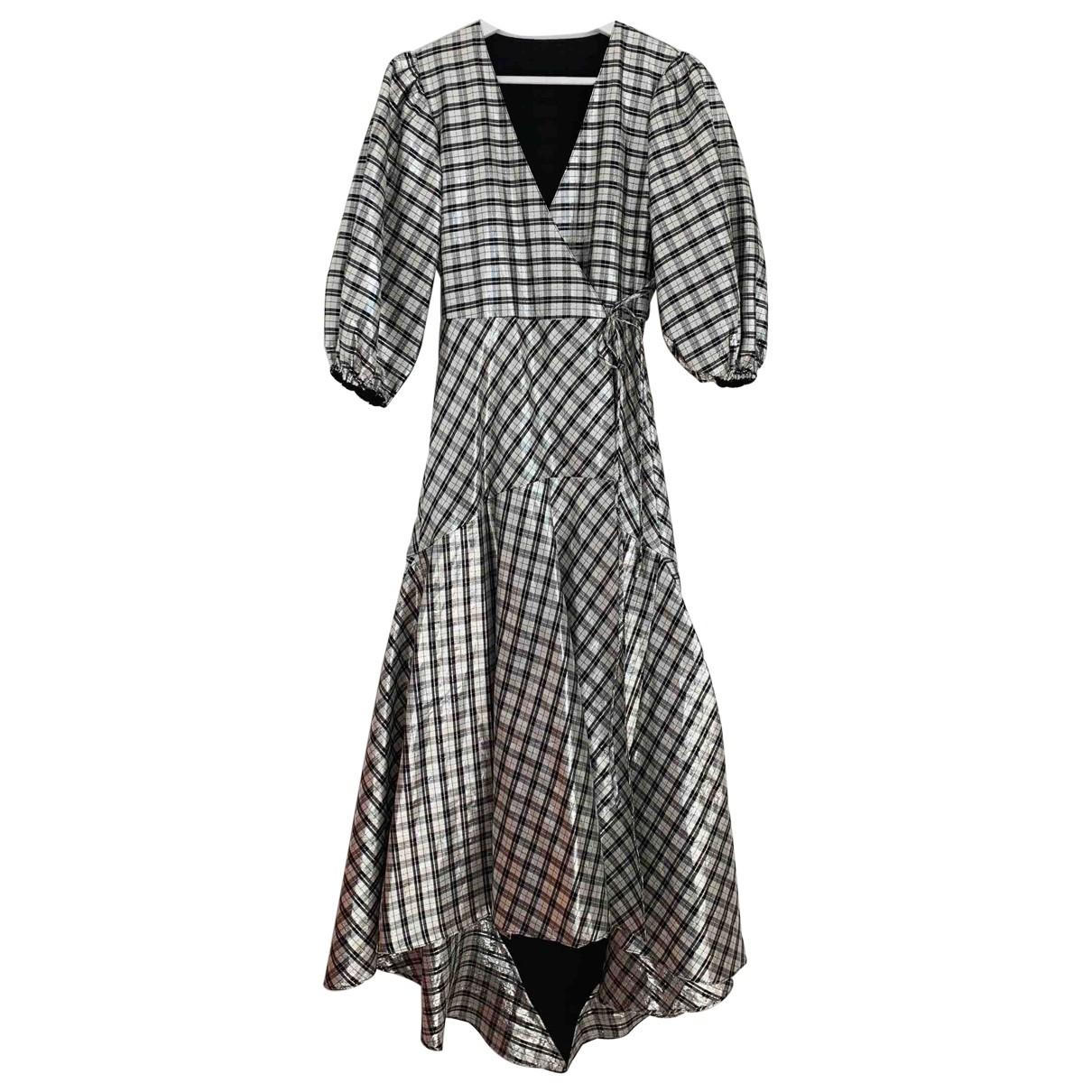 Ganni - Robe   pour femme en soie - metallise