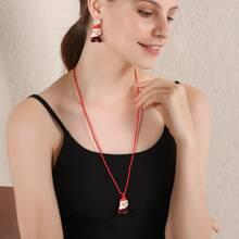 3pcs Christmas Santa Claus Charm Jewelry Set