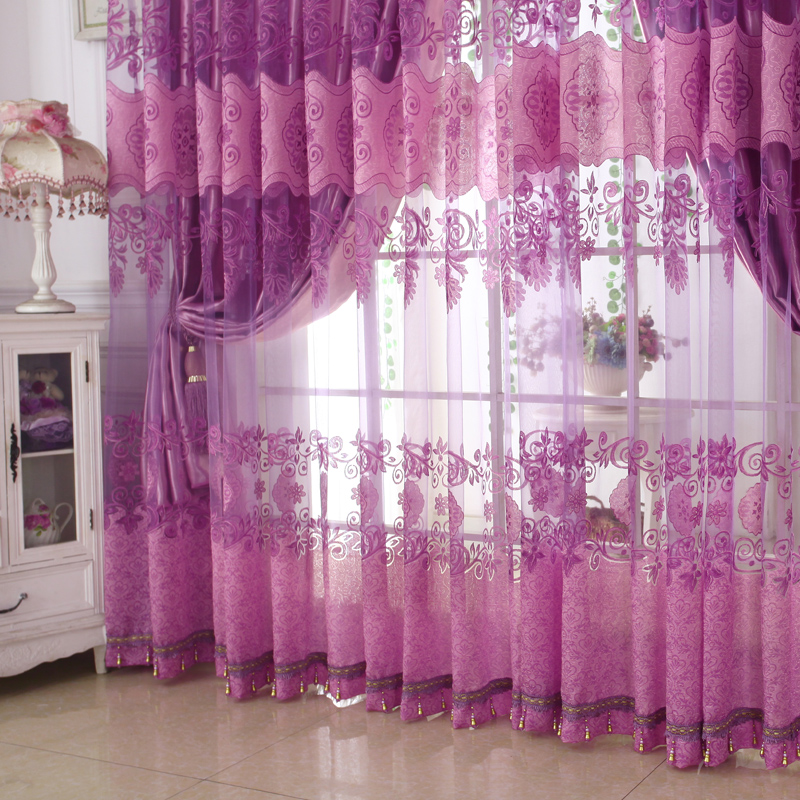 Shading and Sheer Together Embroidery Floral Curtain Sheer Sets