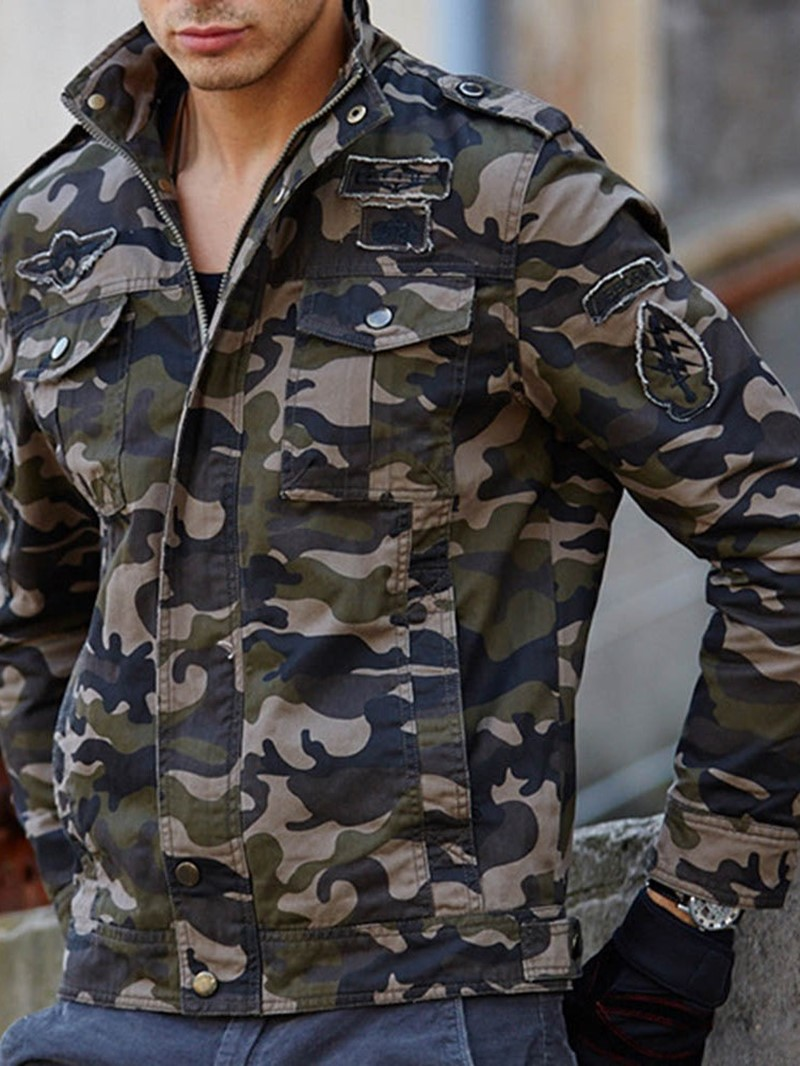Ericdress Camouflage Stand Collar Zipper Style Mens Jacket