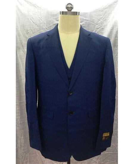 Men's Navy Single Breasted Linen Vest 2 Button Suit