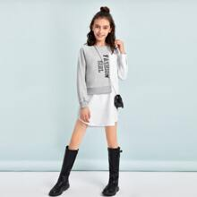Girls Raglan Sleeve Letter Graphic Two Tone Dress Without Bag