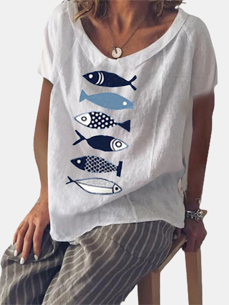 Fish Printed Short Sleeve Doll Collar T-shirt For Women