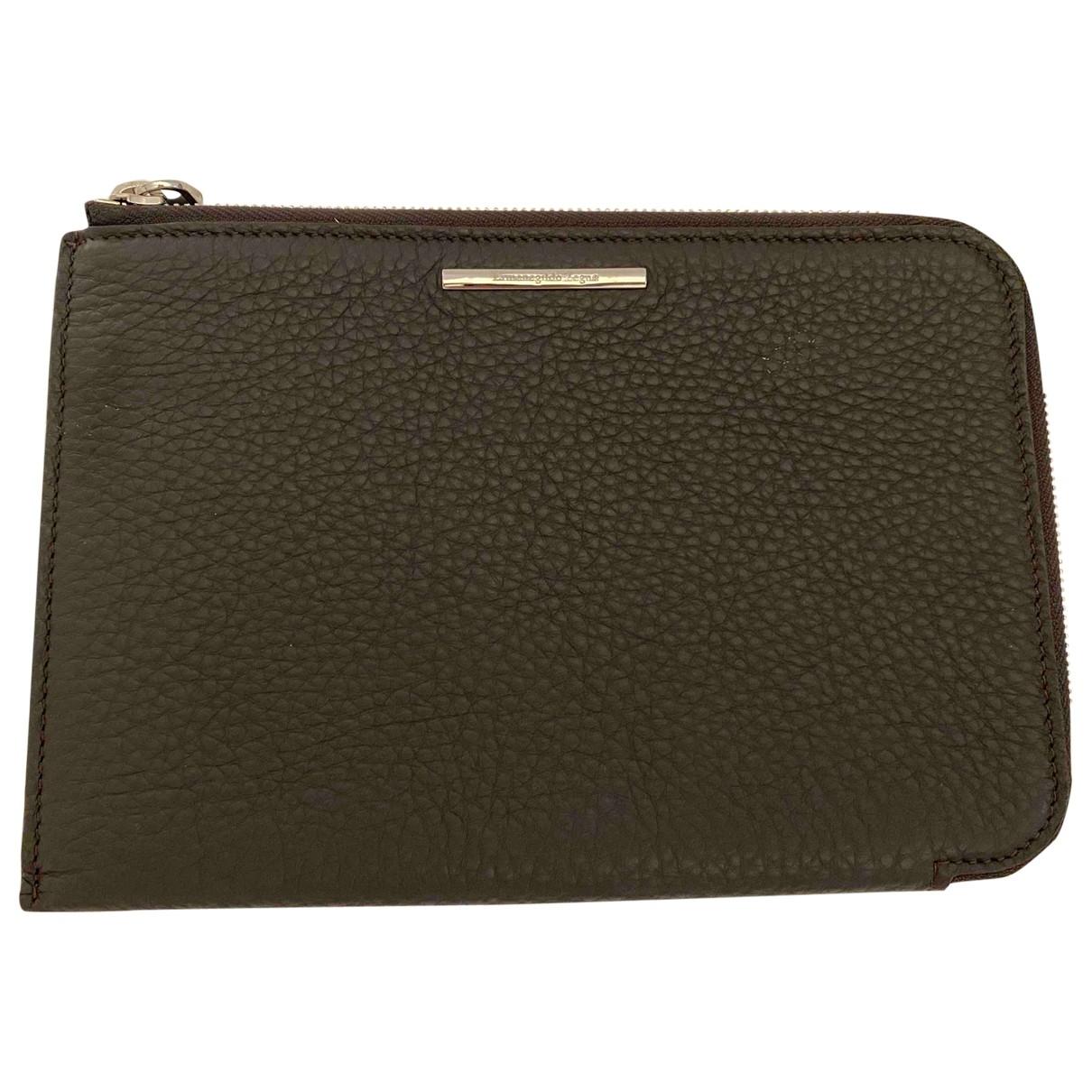 Ermenegildo Zegna \N Brown Leather Small bag, wallet & cases for Men \N
