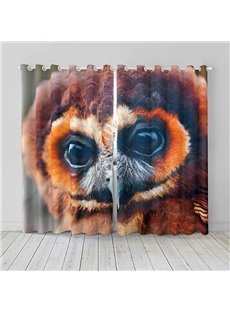 Vivid and Cute Owl Pattern 3D Printed Polyester Curtain