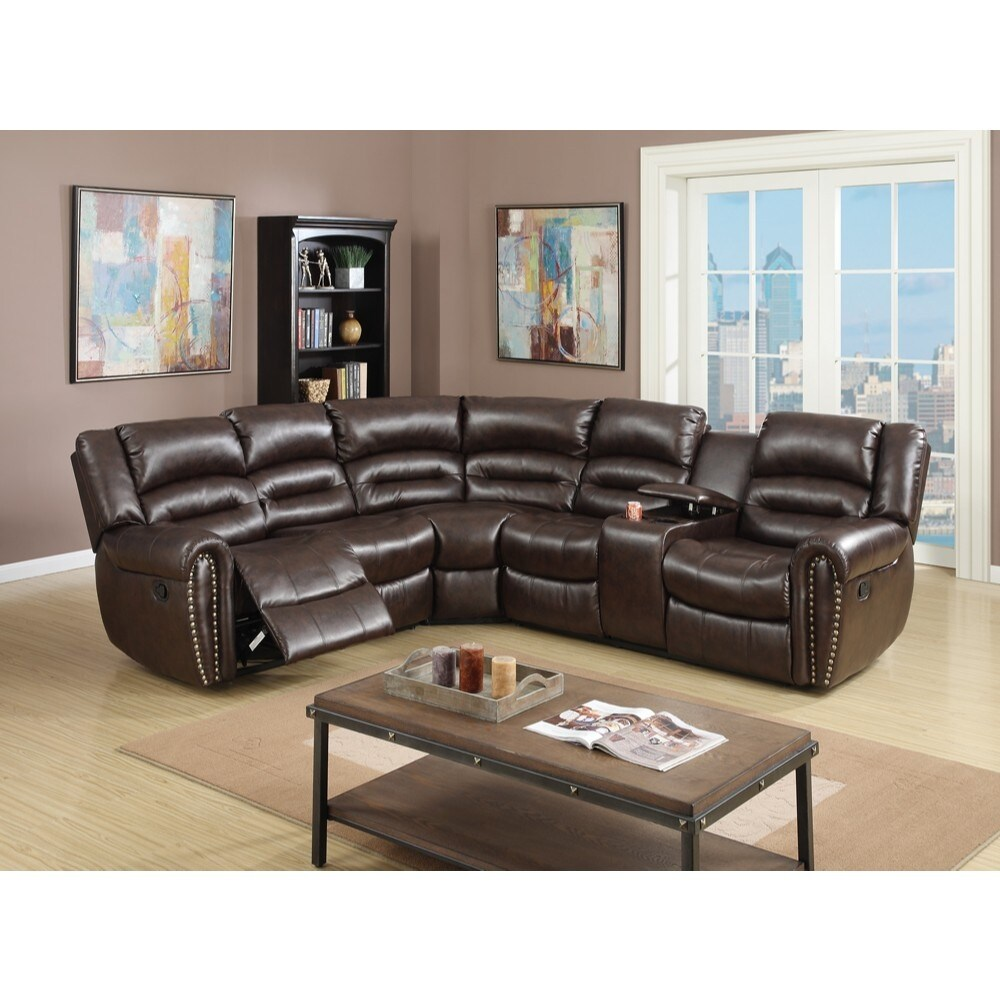 Bonded Leather 3 Piece Reclining Sectional, Brown (Left Facing)