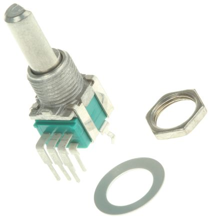 Alps Alpine 2 Gang Rotary Potentiometer with an 6 mm Dia. Shaft - 10kΩ, ±20%, 0.05W Power Rating, Logarithmic, Through
