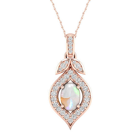Womens Lab Created Opal 10K Rose Gold Over Silver Pendant Necklace, One Size , No Color Family