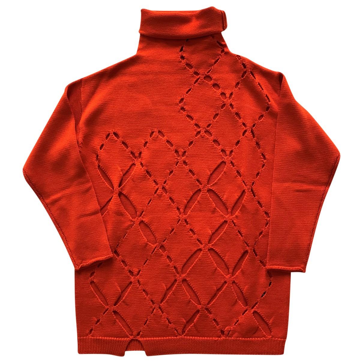 Non Signé / Unsigned Oversize Orange Wool Knitwear for Women 42 IT