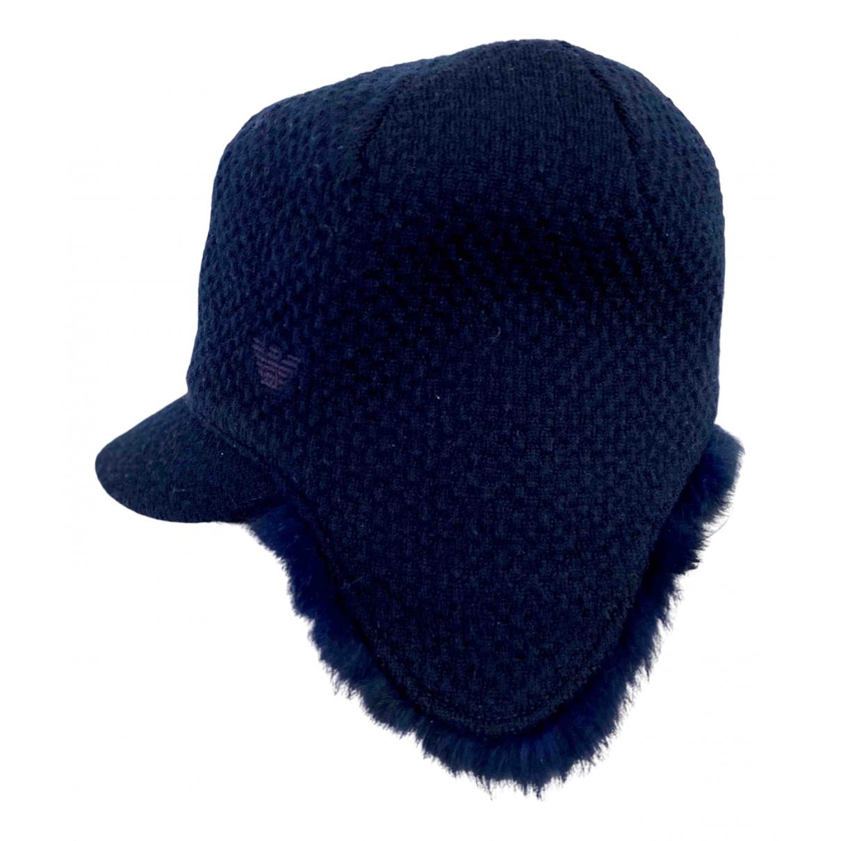 Emporio Armani - Chapeau & Bonnets   pour homme en laine - marine