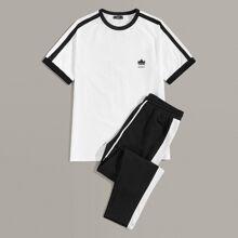 Maenner T-Shirt und Hosen Set mit Kordelzug um die Taille