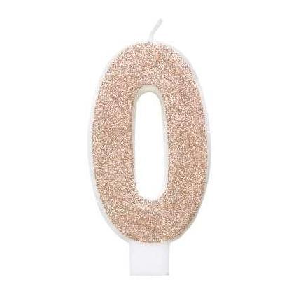 Bougie d'anniversaire chiffre Glitz en or rose - 0