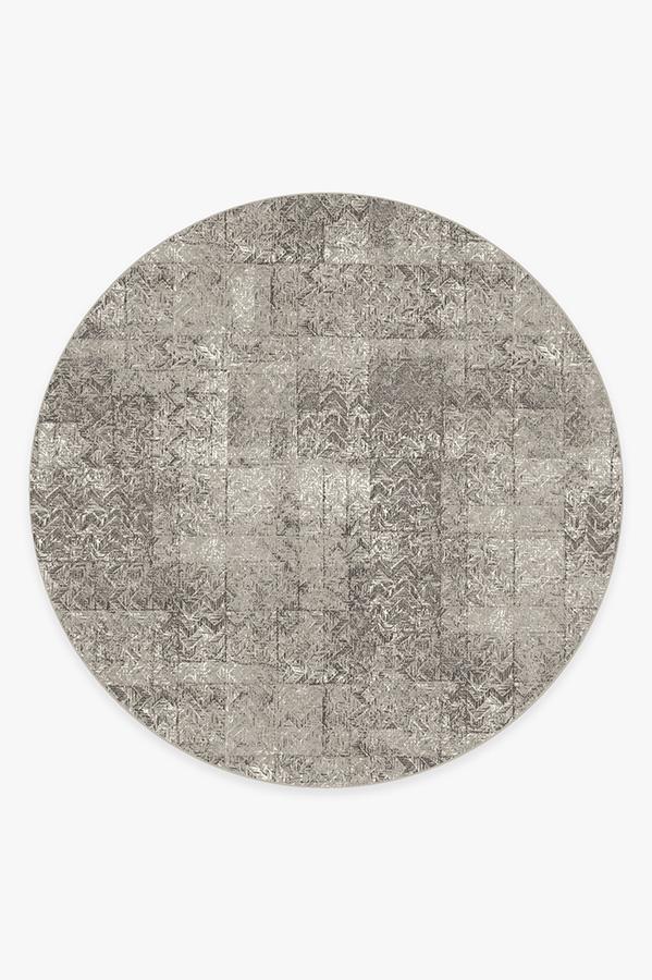 Washable Rug Cover & Pad | Herringbone Batik Ash Grey Rug | Stain-Resistant | Ruggable | 8' Round