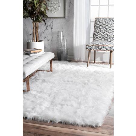 nuLoom Rodolfo Faux Sheepskin Shag Rug, One Size , White